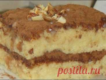The biscuit cake soaked with condensed milk