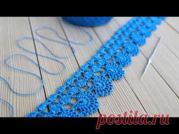 Простое ЛЕНТОЧНОЕ КРУЖЕВО вязание крючком КАЙМА мастер-класс Easy to Crochet Lace Ribbon