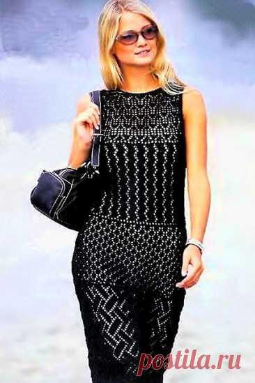 Черное платье спицами ажурными узорами из полос, зигзагов и ромбов – схемы с описанием — Пошивчик одежды