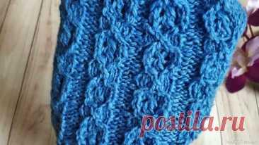 Объемный узор спицами для вязания носков, свитеров, для свитера или кардигана. Видео МК