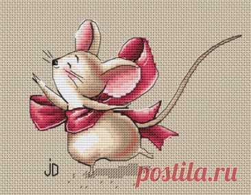 схема для вышивки крестом милая Мышка с бантиком