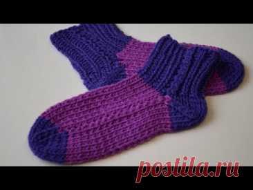 Детские носочки без швов на двух спицах, простой и легкий способ