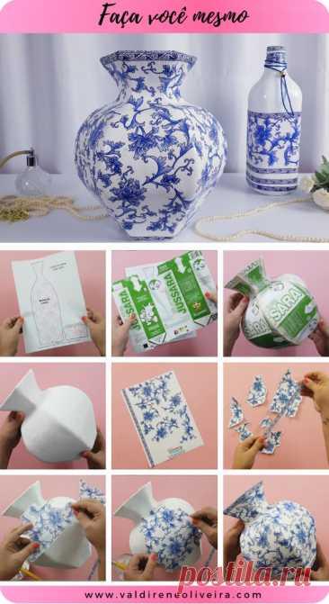 faça você mesmo um lindo vaso decorativo imitando a porcelana chinesa, confira o molde grátis no site.
