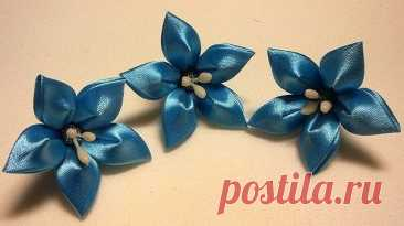 Милые цветочки из атласных лент: мастер-класс