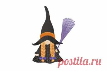 Девочка Гном в костюме ведьмы с метлой - Хэллоуин