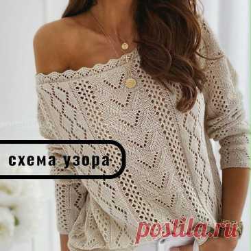 Пуловер с центральным узором и ромбами