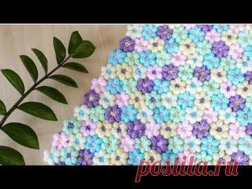 Цветочный плед крючком || Как соединить отдельно связанные цветки крючком || Плед цветочная поляна