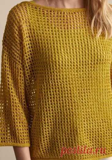 Горчичный пуловер-сетка. Спицы.   Вяжем,Вяжем,Вяжем(Вязание)   Яндекс Дзен