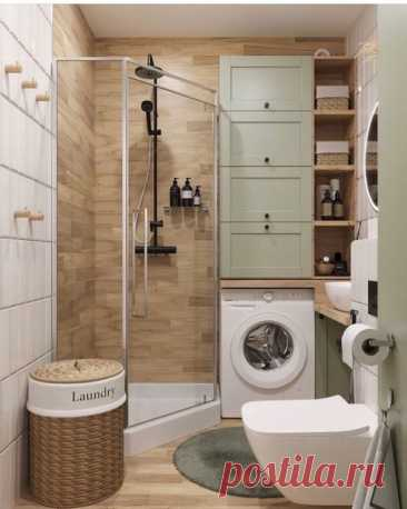 Пример совмещенной душевой и туалета. Уместили все, что хотели! Нравится стеклянная дверь и что нашлось место для машинки.