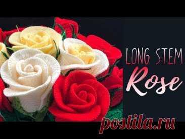 Как вязать крючком длинную розу