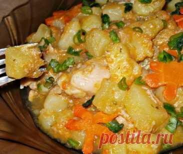 Сытная и ароматная тушеная картошка с курицей – вкусно, быстро и просто!