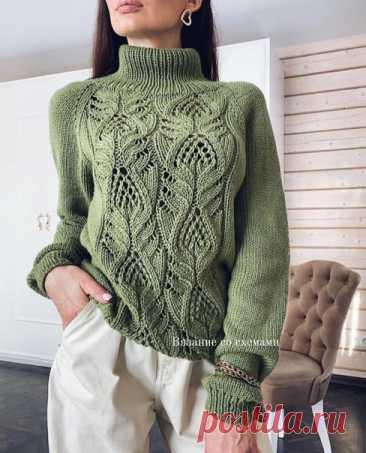 #вязаный_пуловер@modnoe.vyazanie Свитер с высоким горлом. Схема узора.