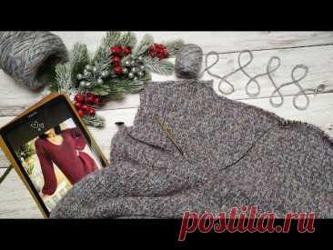 Платье - пуловер спицами. Часть 1. Обзор, расчеты, горловина спинки, скос плеча.