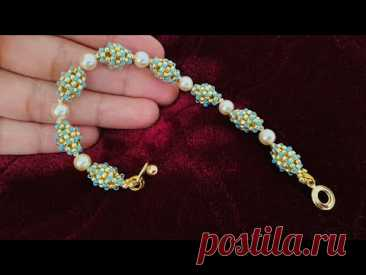 Simple Beaded bead Bracelet || Beaded bead out of seed beads || How to make Beaded Bracelet