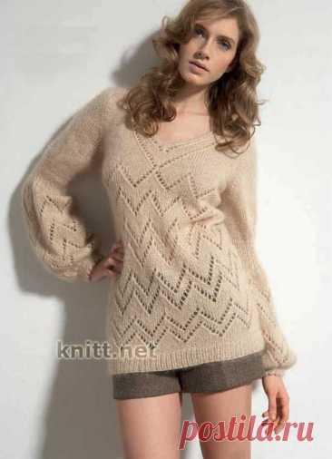 Пуловер с узором зубчики