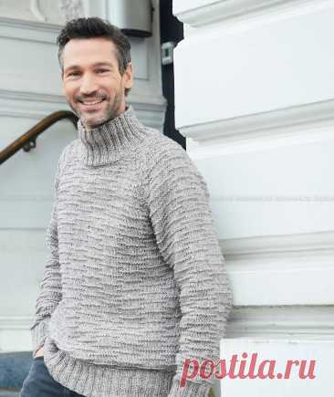 Новинка от сайта Knitweek.ru. Мужской свитер с рукавом реглан и теневым узором спицами