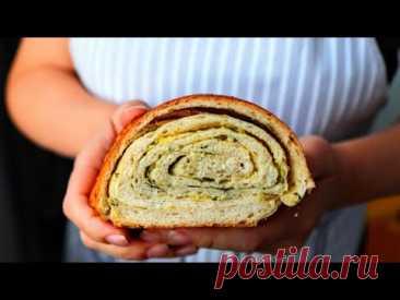 Мой простой секрет, как сделать хлеб слоеным без усилий! Слоеный хлеб с чесноком и зеленью