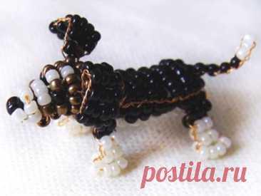 Пятнистая собачка из бисера: 2 схемы параллельного бисероплетения
