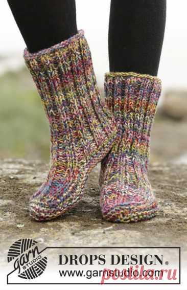 Домашние теплые носочки- тапочки спицами от DROPS