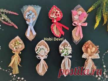 DIY Wedding Favors Flower Bouquet,Burlap Bouquet,Easy İdea, Çuval Bezi Çiçek Buketi Nikah Şekeri Yap
