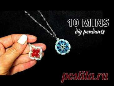 10 MINS diy pendants. Beaded pendants patterns