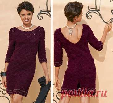 Элегантное платье из кашемира с декольте бордового цвета крючком – схем ажурного вязания с описанием