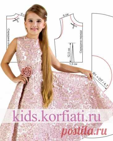Выкройка праздничного платья для девочки от Анастасии Корфиати Выкройка праздничного платья для девочки из жаккарда. Роскошная ткань и простой крой - слагаемые успеха оригинального жаккардового платья!