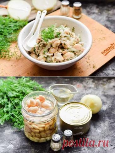 Салат из рыбных консервов с фасолью   Вкусные кулинарные рецепты