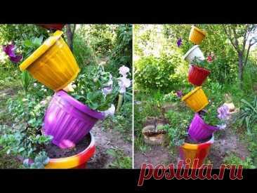Идея для дачи из цветочных горшков. Поделки для сада и дачи