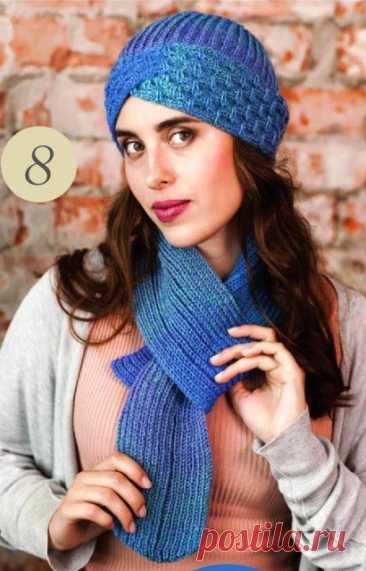 Шапка - чалма спицами и шарф