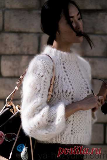 Свитер с жемчужным узором спицами. Схемы вязания свитеров 2021