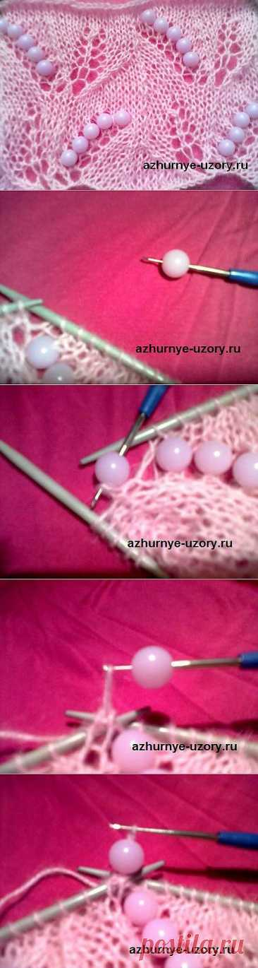 Knitting by spokes with beads or beads.