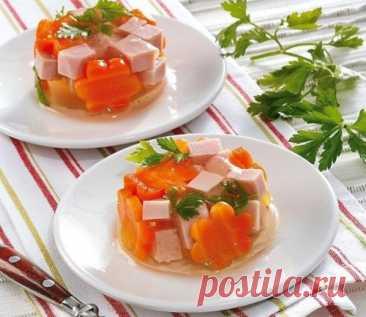 Рецепт заливного с ветчиной и морковью