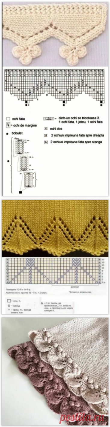 Как интересно оформить край спицами. Схемы и идеи вязания.