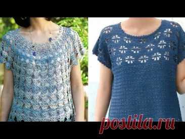Топики, туники, безрукавки крючком  - Crocheted tops, tunics, tank tops - YouTube