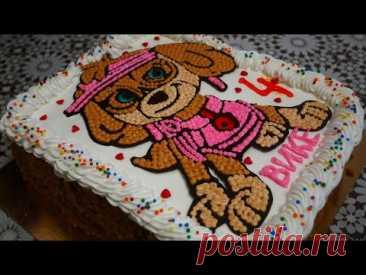Торт МЕДОВИК Простое украшение торта БЕЗ НАСАДОК ЩЕНЯЧИЙ ПАТРУЛЬ СКАЙ Украшение торта кремом