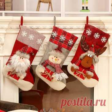 Подарок на Новый год 2022, 1 шт., рождественские чулки, рождественские украшения для творчества, рождественские украшения для дома, рождественские украшения, гирлянда   Дом и сад   АлиЭкспресс