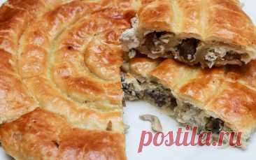Пироги сытные из слоеного теста: улитка с грибами, плетенка с рыбой, пирог с зеленью или с капустой   Кулинарные записки обо всём   Пульс Mail.ru