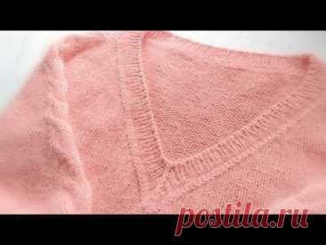 Обработка в карман, V-образной горловины. Два варианта убавок для центральной петли./Knitting,mk.