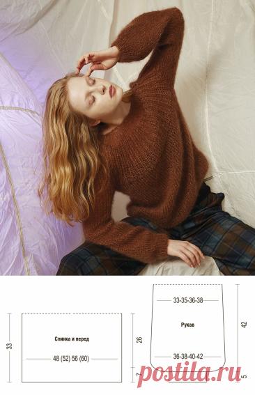 Коричневый джемпер с круглой кокеткой — схема вязания спицами с описанием на BurdaStyle.ru