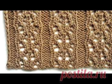 Вертикальный ажурный узор спицами для вязания палантинов, летних кофточек, носков