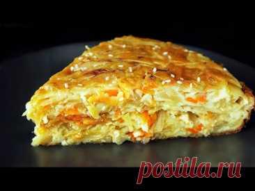 Самый вкусный капустный пирог - минимум теста, максимум начинки. Просто тает во рту)))