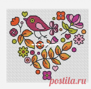 The World in Stitches - Autumn Heart with Bird  by Colleen Carrington - Free  Edited by anniekins at 2021-1-22 21:31