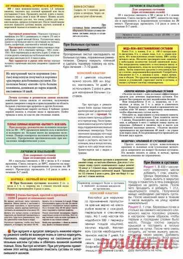 Суставные боли - лечение народными методами