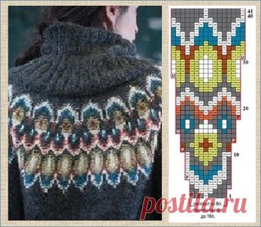 30 схем для вязания свитеров с круглой жаккардовой кокеткой - вязание спицами - в копилку мастериц | МНЕ ИНТЕРЕСНО | Яндекс Дзен