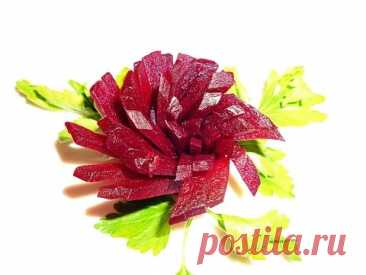 4 LAYFKHAK HOW TO MAKE FLOWERS OF BEET! AS IT IS BEAUTIFUL TO ISSUE THE TABLE! DECORATION OF SALADS! - YouTube