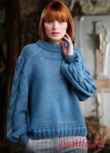 Модный свитер с узором из «кос» — Shpulya.com - схемы с описанием для вязания спицами и крючком