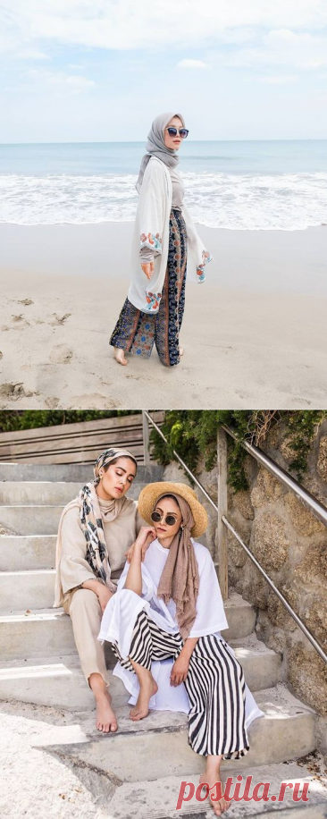 Perfect Ways To Wear Beach Outfit For Hijabis - Hijab-style.com