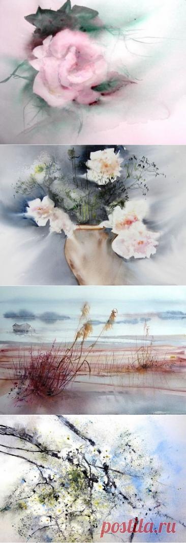 Весны прохладное дыханье... Акварель Reine Marie Pinchon