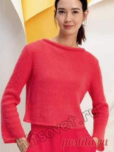 Пуловер лицевой гладью с воротником руликом - Хитсовет